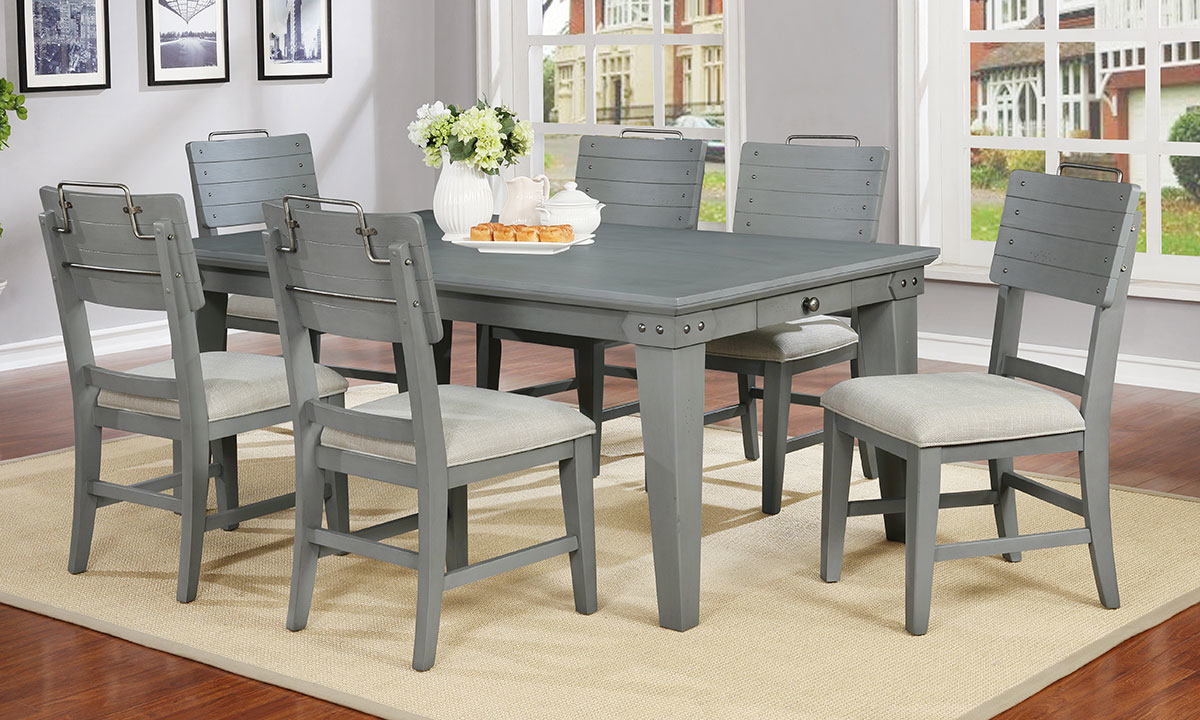 Avalon Bellvielle 5-Piece Vintage Dining Set in Gray Finish with 72-inch storage table and 4 cushioned side chairs