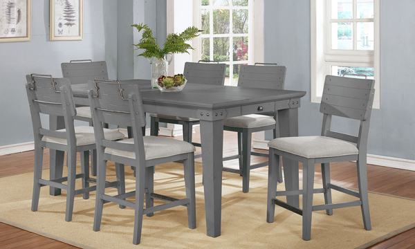 Avalon Bellvielle 5-Piece Vintage Dining Set with 72-Inch Counter Height Table and 4 Chairs in Gray Finish