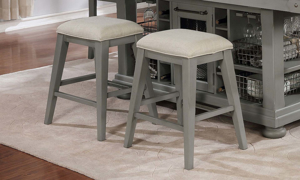 Avalon Bellvielle Vingate Counter Height Stool Set in Gray Finish with Neutral Cushions