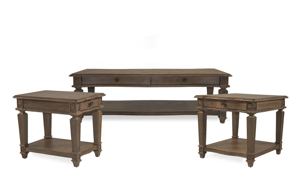 Anabelle Traditional 3-Piece Table Set with Cocktail Coffee Table, Side Table and End Table in Brown Oak Finish