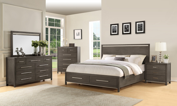 Katy Grey Modern King Bedroom Set with Storage Bed, 9-Drawer Dresser and Mirror