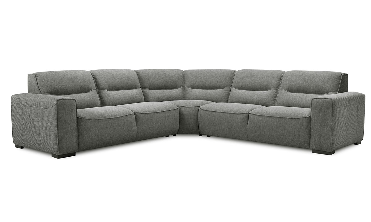 Violino Graphite Contemporary Room Size Sectional Sofa in Gray Upholstery with 4 Toss Pillows