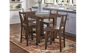 A-America Aberdeen 5-Piece Farmhouse Dining Set with 64-inch Extendable Storage Table and 4 Stools in Brown Finish - Full Set in Kitchen