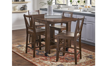 A-America Aberdeen Brown 5-Piece Small Farmhouse Dining Set