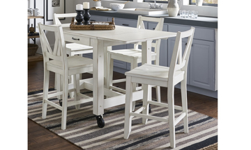 A-America Aberdeen 5-Piece Farmhouse Dining Set with 64-inch extension storage table and 4 stools in white finish - Full Set