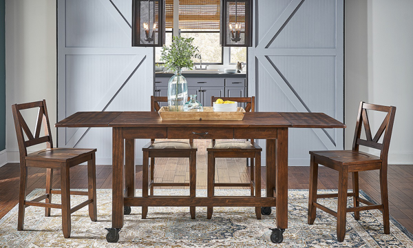 A-America Aberdeen Brown 5-Piece Farmhouse Dining Set with 87-inch Counter Height Extension Storage Table and 4 Stools in Brown Finish - Full Set in Kitchen