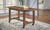 A-America Aberdeen Farmhouse 87-inch Extension Storage Table with Casters in Brown Finish - Open