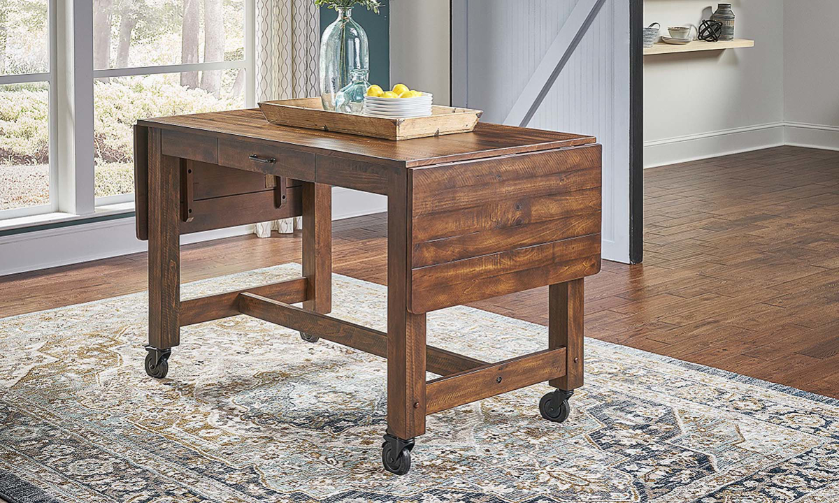 A-America Aberdeen Farmhouse 87-inch Extension Storage Table with Casters in Brown Finish - Closed