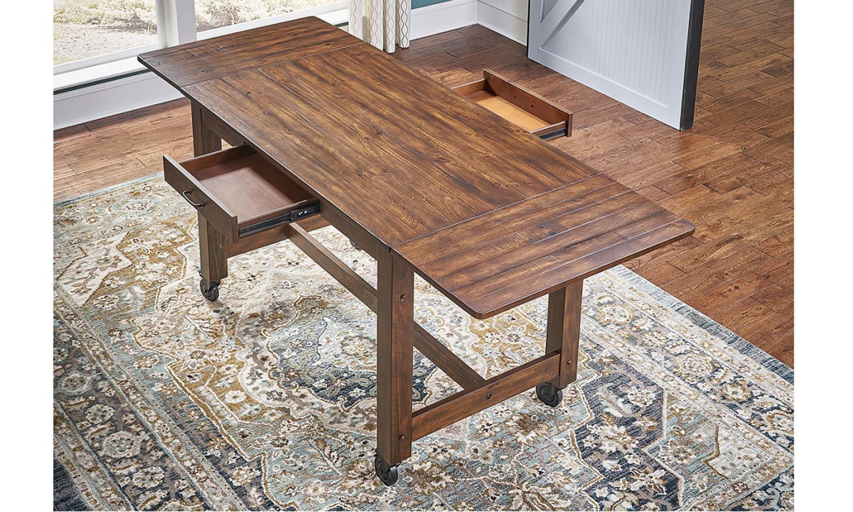 A-America Aberdeen Farmhouse 87-inch Extension Storage Table with Casters in Brown Finish - Top View