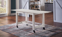A-America Aberdeen 87-Inch Extendable Counter Height Storage Table in White Finish - Open