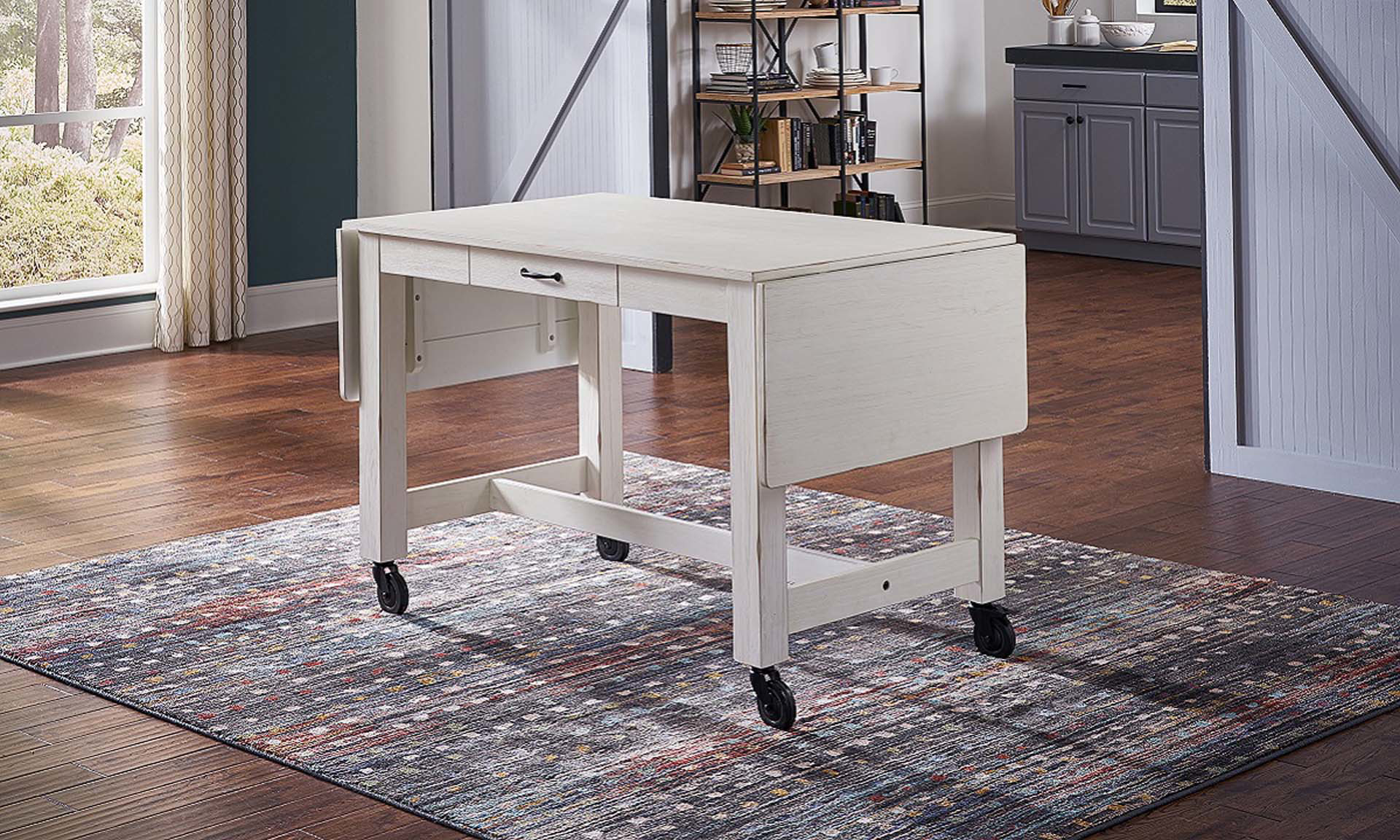A-America Aberdeen 87-Inch Extendable Counter Height Storage Table in White Finish - Closed