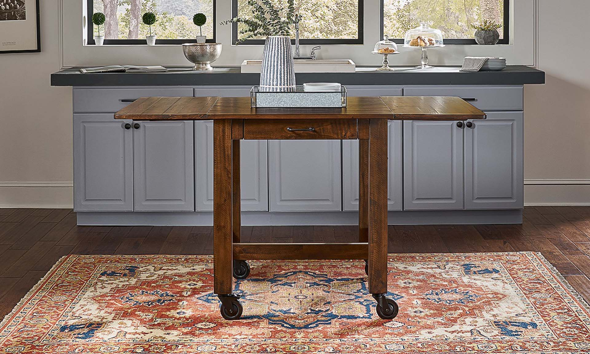 A-America Aberdeen 64-Inch Extendable Farmhouse Storage Table with Casters in Brown Finish - Open