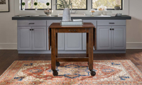A-America Aberdeen 64-Inch Extendable Farmhouse Storage Table with Casters in Brown Finish - Closed