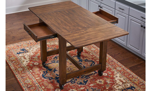 A-America Aberdeen 64-Inch Extendable Farmhouse Storage Table with Casters in Brown Finish - Top View