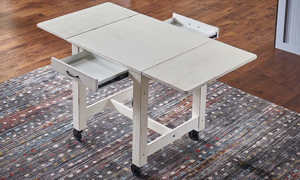 A-America Aberdeen Farmhouse 64-inch Extension Storage Table in White Finish - Extended and Open