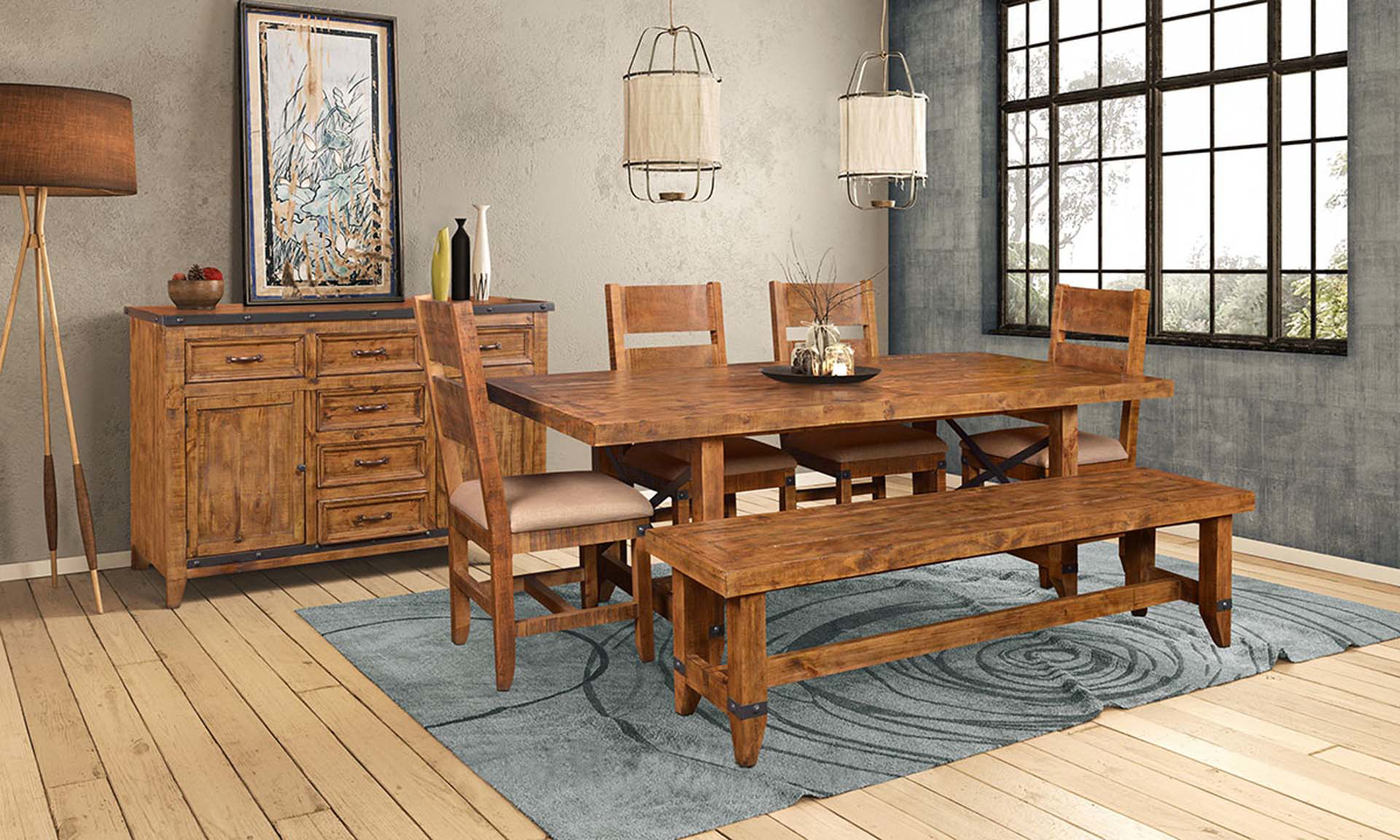 Horizon Home San Miguel 6-Piece Solid Pine Dining Set with 84-inch Trestle Table, Bench and 4 Cushioned Chairs in Nutmeg Brown Finish