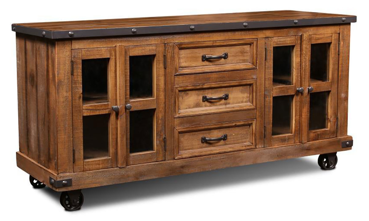 Horizon Home Urban Rustic 65-Inch Server Console with 3 Full-Extension Drawers and 2 cabinets in nutmeg brown finish