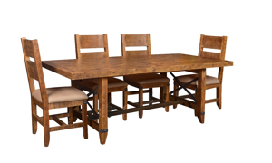 Horizon Home Urban Rustic 5-Piece Dining Set crafted in solid pine with nutmeg brown finish includes 84-inch table and 4 cushioned chairs.