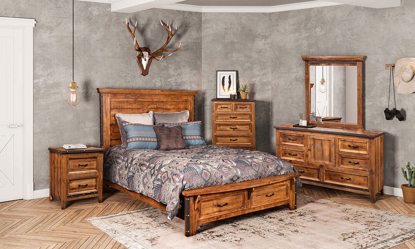 Horizon Home Urban Rustic  Queen Bedroom crafted from Solid Pine with storage  bed, cabinet dresser and mirrior
