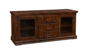 "Handmade rustic 72"" solid pine entertainment console with 2 glass framed cabinet doors and 3 full extension drawers wrapped in a versatile brown finish."