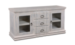 """Handmade rustic 64"""" solid pine entertainment console with 2 glass framed cabinet doors and 3 full extension drawers wrapped in a distressed white finish."""