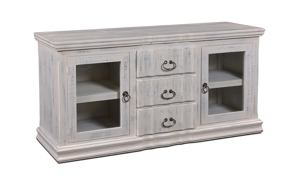 "Handmade rustic 64"" solid pine entertainment console with 2 glass framed cabinet doors and 3 full extension drawers wrapped in a distressed white finish."