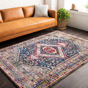 Colorful and unique 5 x 7 Turkish rug with hints of white and blue from the Surya Alchemy Collection on wood floor in living room