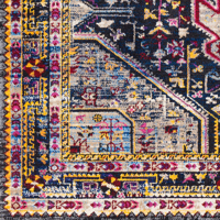Colorful and unique 5 x 7 Turkish rug with hints of white and blue from the Surya Alchemy Collection - Close Up