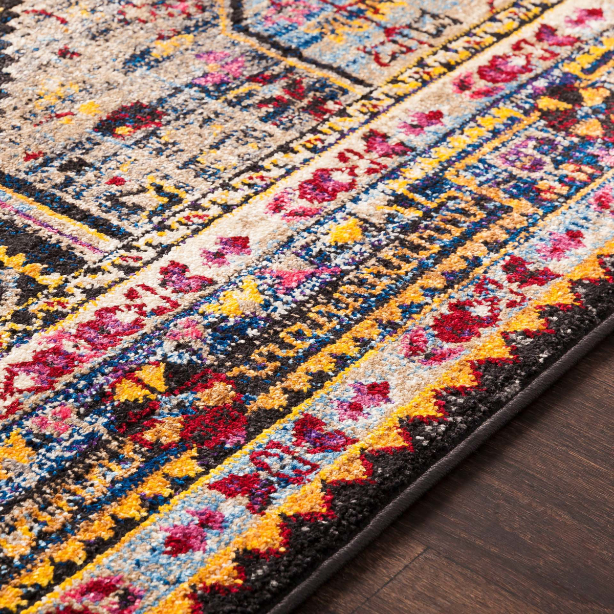 Colorful and unique 5 x 7 Turkish rug with hints of white and blue from the Surya Alchemy Collection - Detail Shot