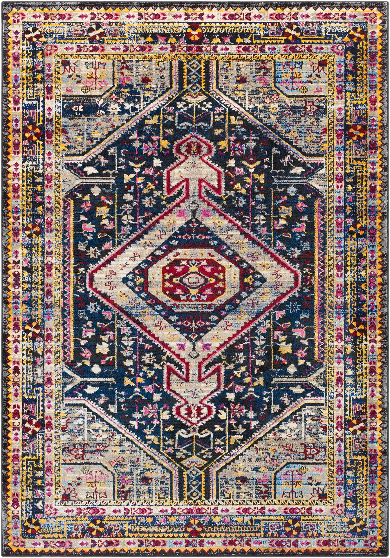 Colorful and unique 5 x 7 Turkish rug with hints of white and blue from the Surya Alchemy Collection