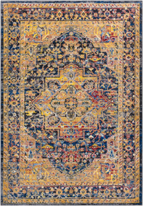 Unique Turkish rug with distinct yellow, blue and red pattern from the Surya Alchemy Collection