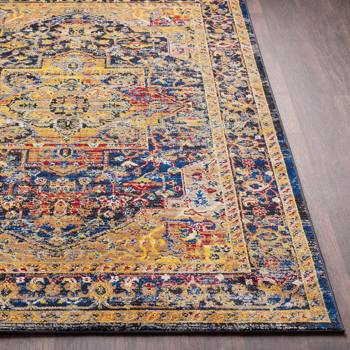 Unique Turkish rug with distinct yellow, blue and red pattern from the Surya Alchemy Collection	- Close-up