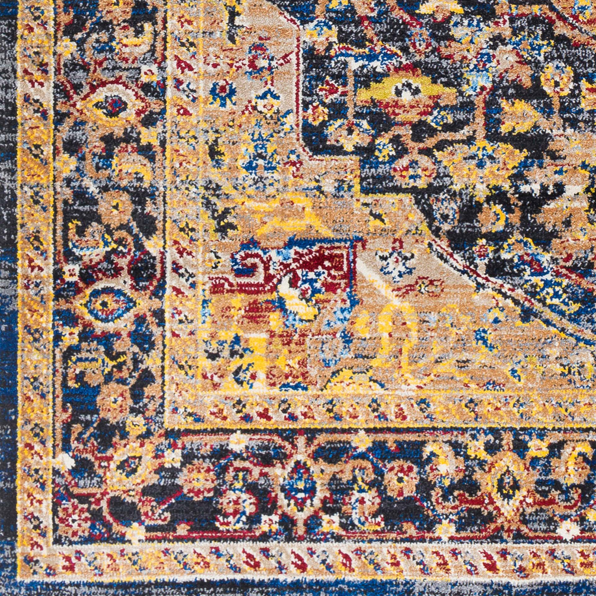 Unique Turkish rug with distinct yellow, blue and red pattern from the Surya Alchemy Collection - Pattern Detail