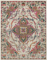 Classic Turkish area rug in ivory with pink, teal, gray and orange floral and ribbon pattern