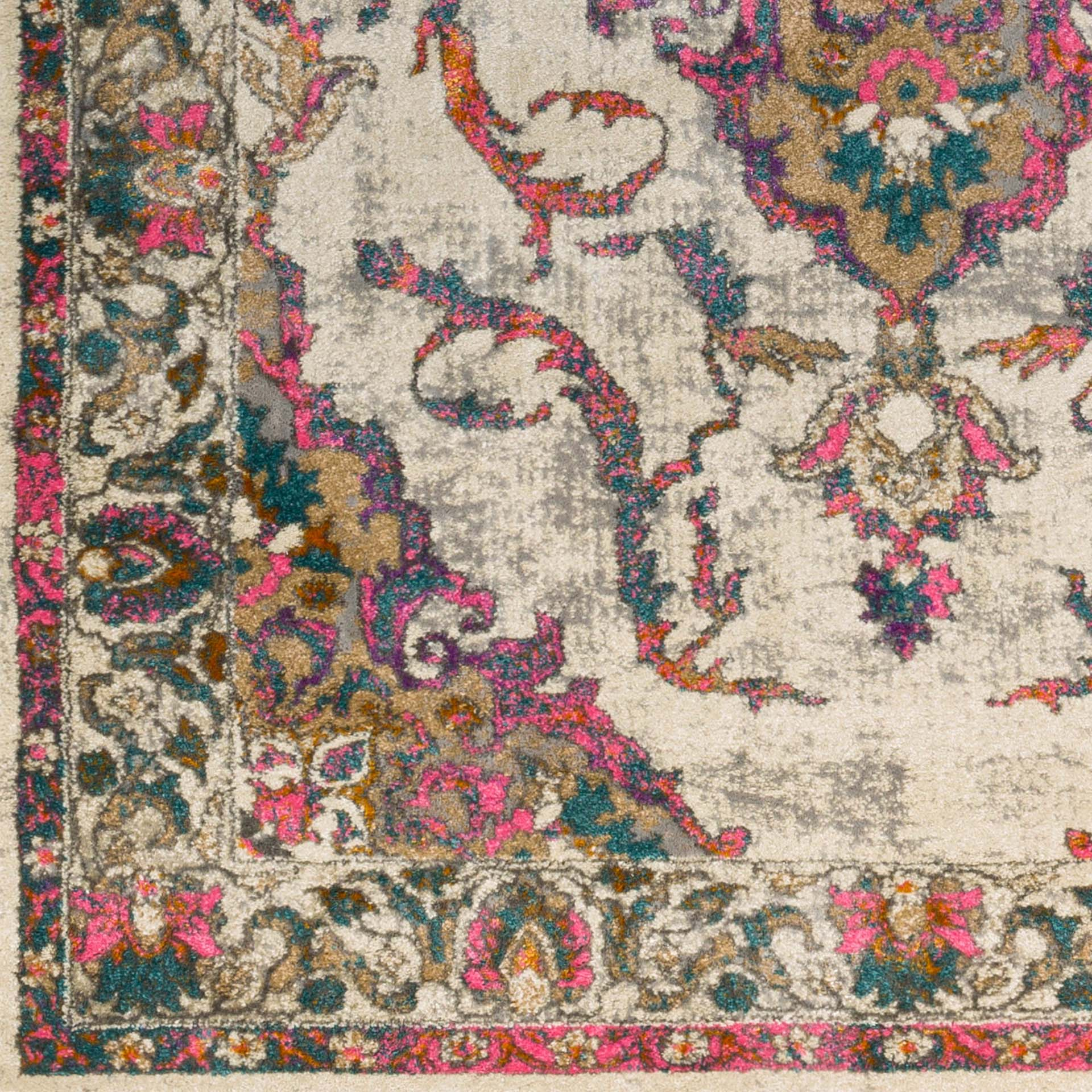 Classic Turkish area rug in ivory with pink, teal, gray and orange floral and ribbon pattern - Detailed Shot