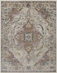 Classic ivory Turkish area rug with gray, purple and aqua ribbon and floral pattern.