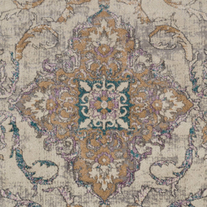 Classic ivory Turkish area rug with gray, purple and aqua ribbon and floral pattern - Detailed View
