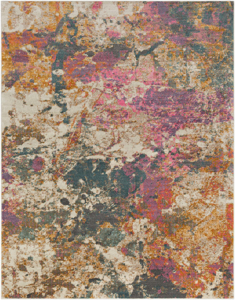 Abstract Turkish cream rug with splashes of pink, teal and orange
