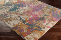 Abstract Turkish cream rug with splashes of pink, teal and orange on wood floor 2