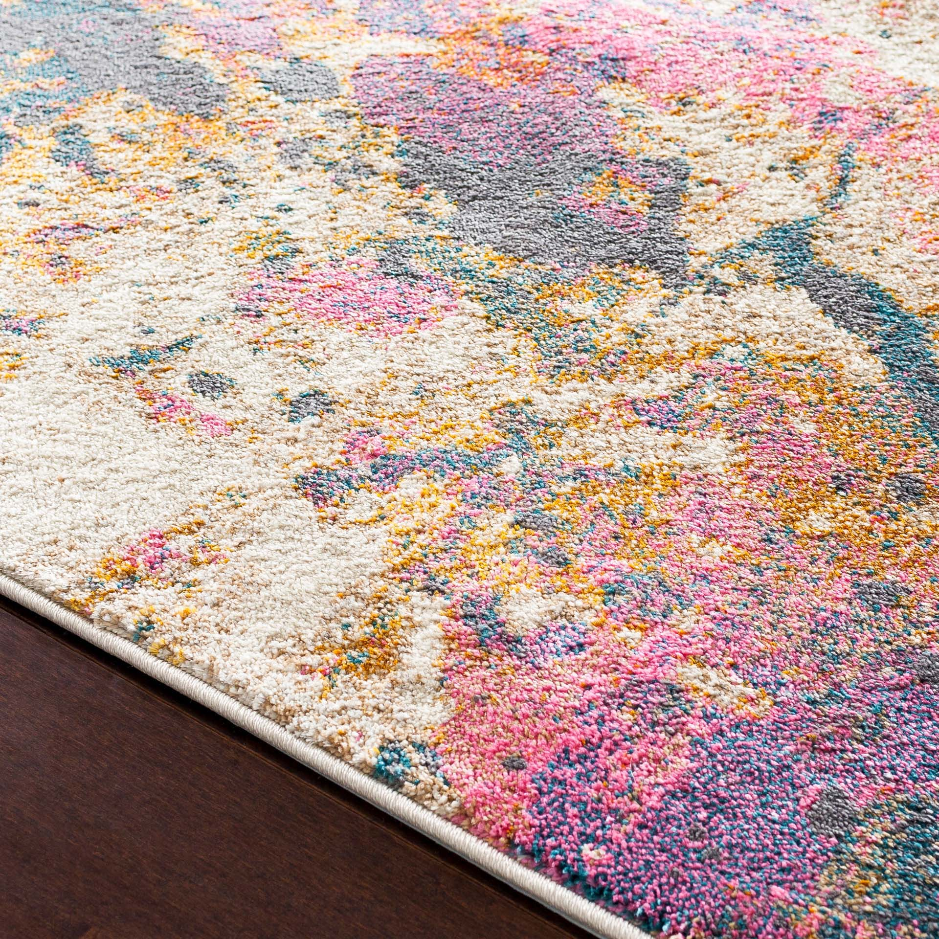 Abstract Turkish cream rug with splashes of pink, teal and orange- Close-up