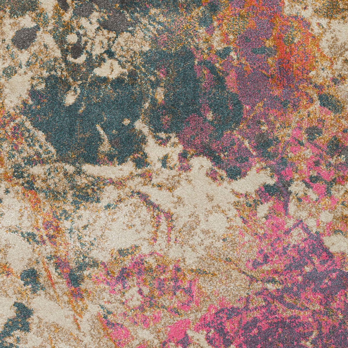 Abstract Turkish cream rug with splashes of pink, teal and orange - Detailed Shot