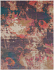 Abstract art inspired Turkish area rug with splashes of cream, purple, pink, orange and  teal