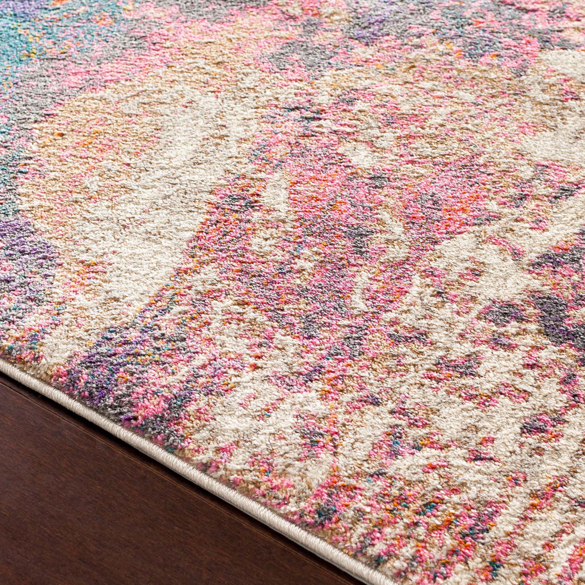 Abstract art inspired Turkish area rug with splashes of cream, purple, pink, orange and teal - Close up
