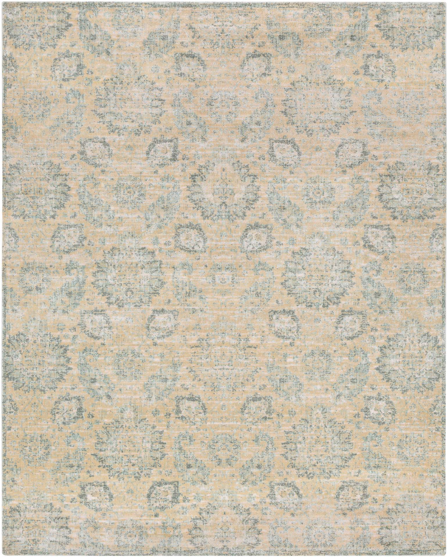 Machine made Egyptian area rug in beige with gray and aqua accents