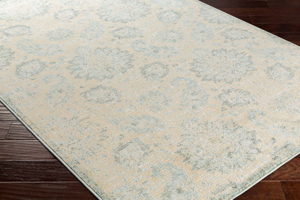 Machine made Egyptian area rug in beige with gray and aqua accentson wood floor