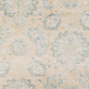 Machine made Egyptian area rug in beige with gray and aqua accents- Close Up
