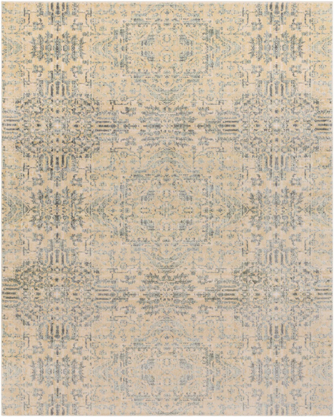 Neutral tone machine made Egyptian area rug in beige with hints of gray and green