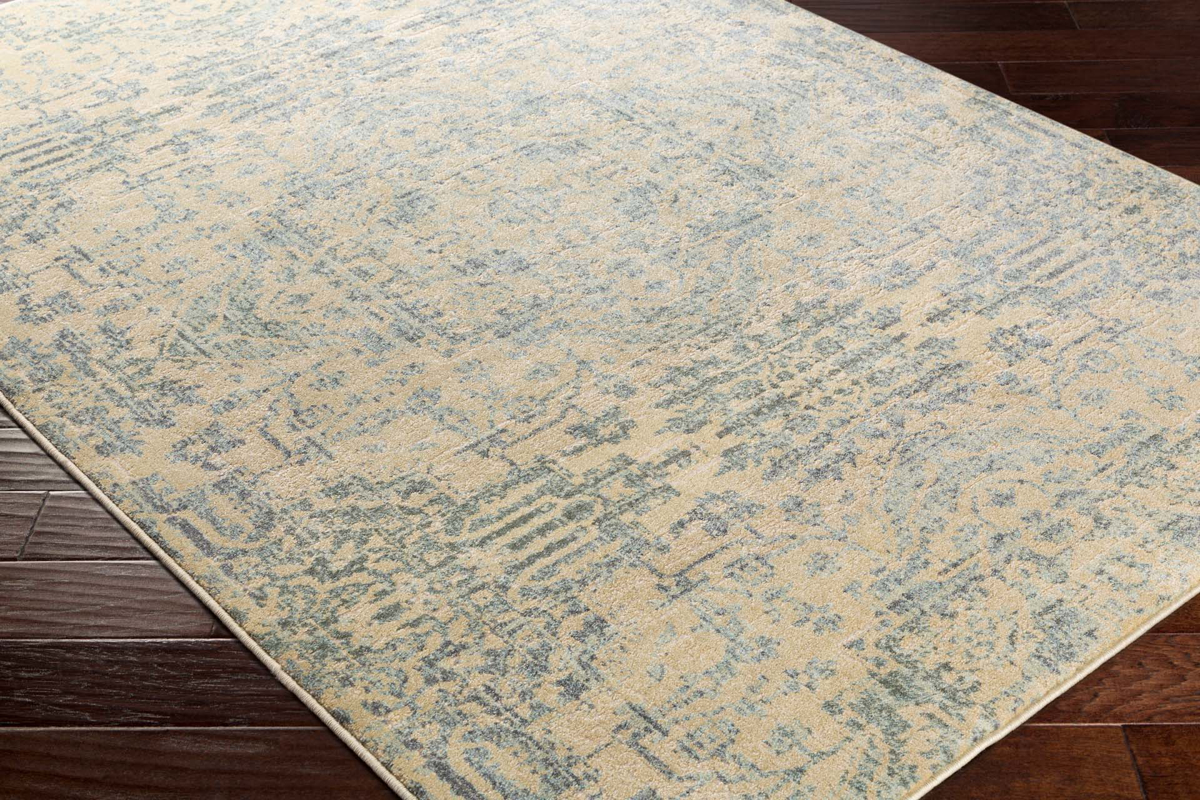 Neutral tone machine made Egyptian area rug in beige with hints of gray and green on wood floor