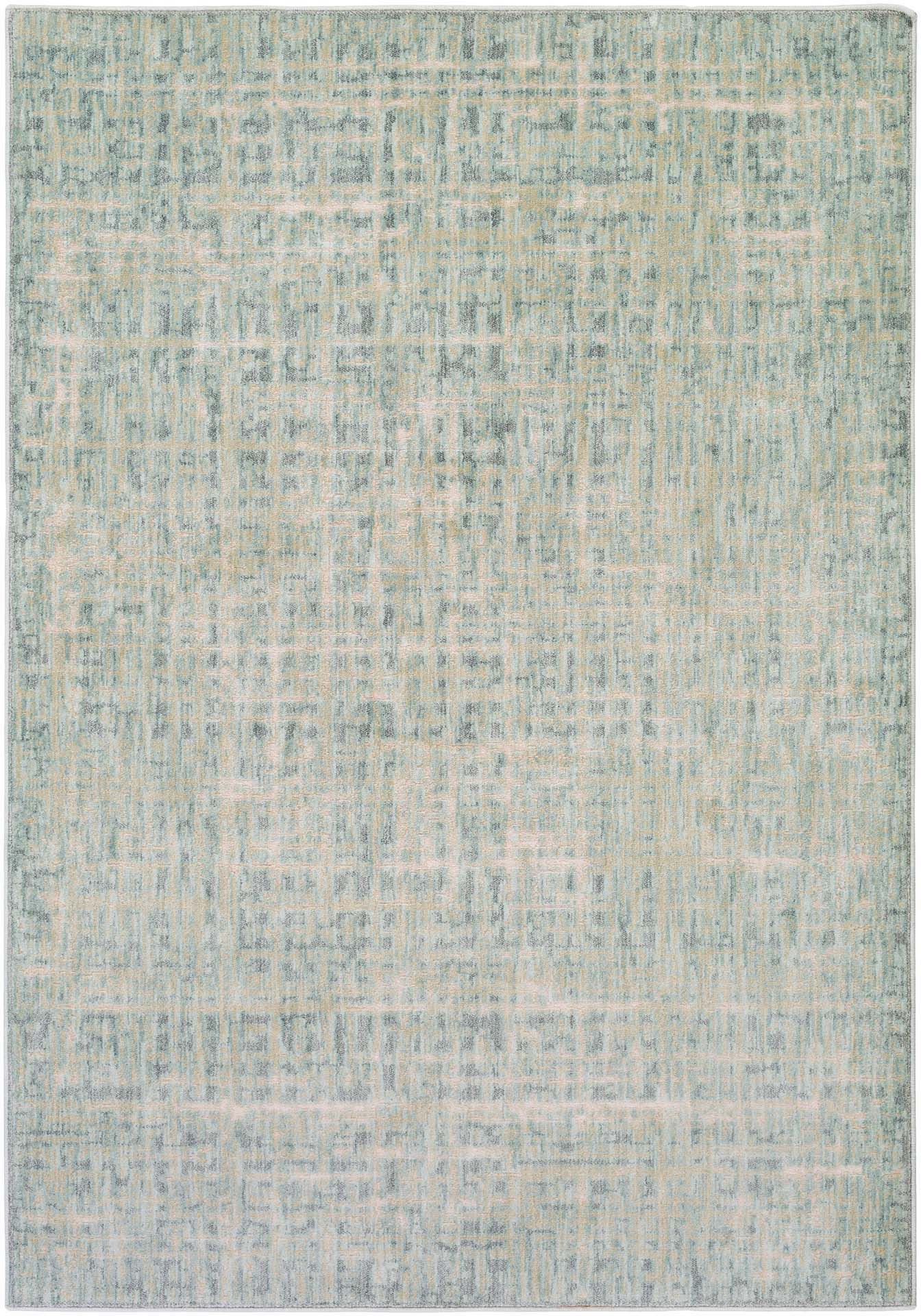 Modern neutral tone machine made Egyptian area rug in green with hints of cream and beige