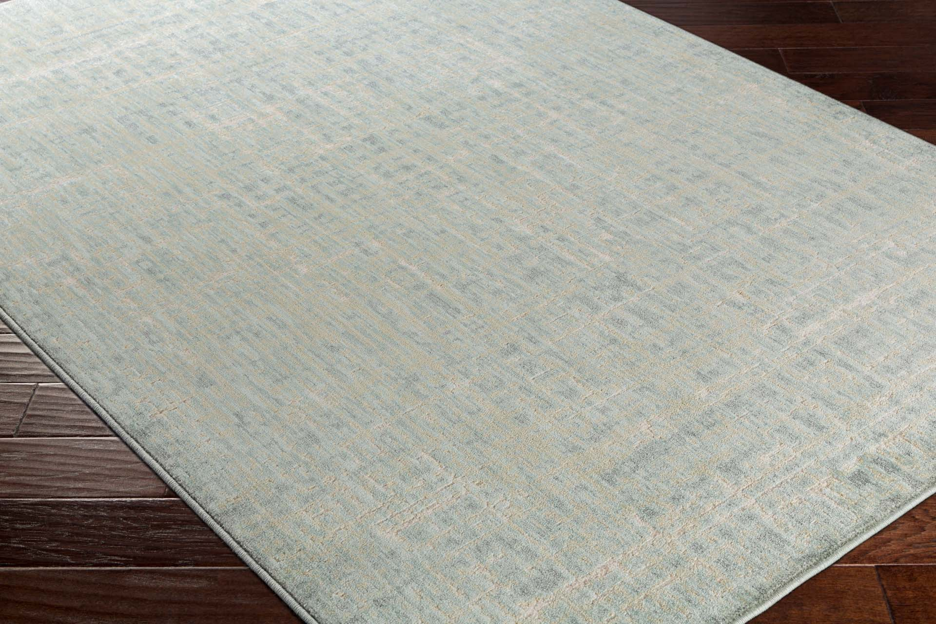 Modern neutral tone machine made Egyptian area rug in green with hints of cream and beige on wood floor